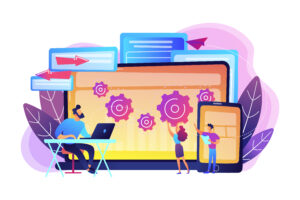 Tester and developer work with laptop and tablet. Cross platform bug founding, bug identification and testing team concept on white background. Bright vibrant violet vector isolated illustration